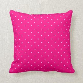 Fifties Style Hot Pink Polka Dot Pillow