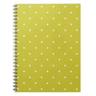Fifties Style Olive Green Polka Dot Notepad Spiral Notebook