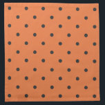 "Fifties Style Orange Polka Dot Napkin<br><div class=""desc"">Vintage 50&#39;s style small polka dot.  Celosia Orange background with Black polka dots.</div>"