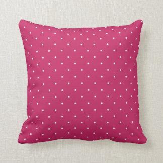 Fifties Style Raspberry Red Polka Dot Throw Pillow
