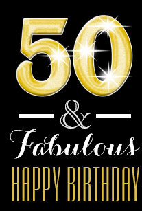 Fiftieth 50th Birthday Men Women Medium Gift Bag