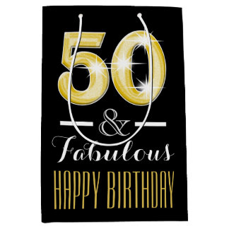 Fiftieth 50th birthday men women medium gift bag