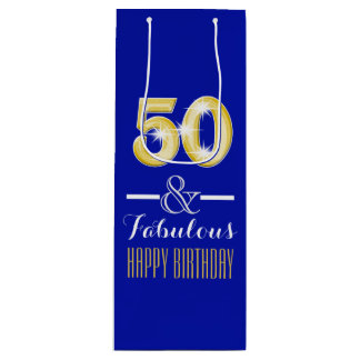 Fiftieth 50th birthday wine bottle wine gift bag