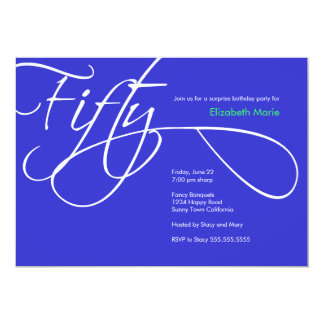 "Fiftieth Birthday Party - Custom background color 5"" X 7"" Invitation Card"