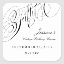 Fiftieth Birthday Party Wine Label 50 years