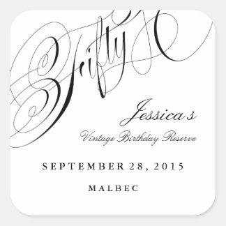 Fiftieth Birthday Party Wine Label 50 years Square Sticker