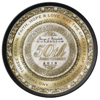 Fiftieth Wedding Anniversary Gold Quote Marble Plate