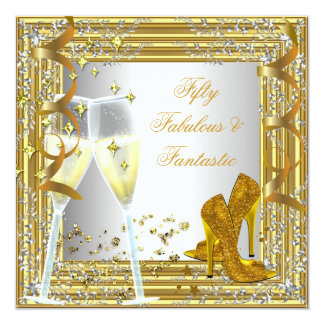 Fifty 50 & Fantastic Fabulous Gold Silver 5.25x5.25 Square Paper Invitation Card