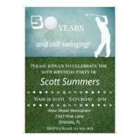 Fifty 50th Birthday Golf Golfer Customize Invitation