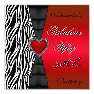 Fifty 50th Birthday Party Red Zebra Wild Black 2 Card