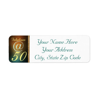 Fifty And Fabulous BDay Bash Party Celebration Label