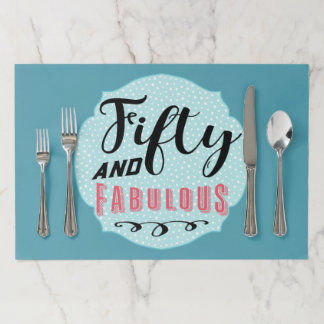 Fifty and Fabulous Birthday Celebration Paper Placemat