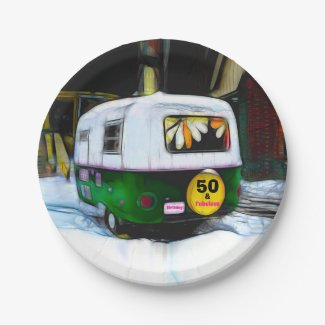 Fifty And Fabulous Birthday Hippie Travel Trailer Paper Plate