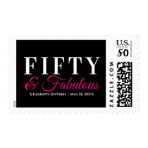 Fifty and Fabulous Elegant Hot Pink 50th Birthday Postage