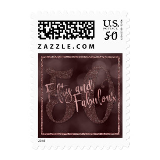 Fifty and Fabulous Rose Gold Glitter w/ Bokeh Postage