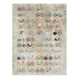 Fifty Bicycles Postcard