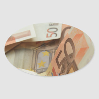 Fifty Euro Money Art Oval Stickers