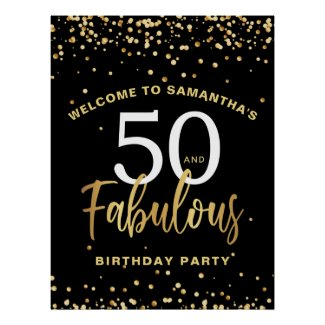 Fifty & Fabulous  Black & Gold Welcome Birthday Poster