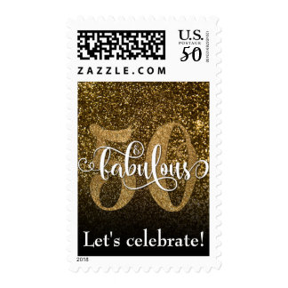 Fifty & Fabulous Faux Glitter on Black/Gold Ombre Postage