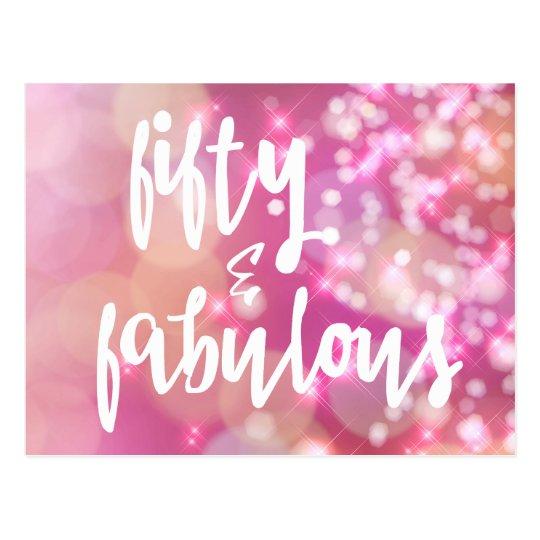Fifty Fabulous Pink Glitter 50th Birthday Card Zazzle