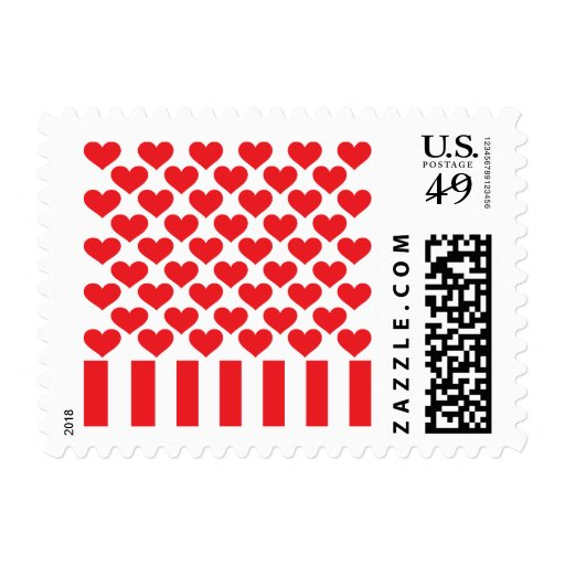 Fifty Hearts and Stripes Postage