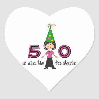 FIFTY IS WHEN THE FUN STARTS HEART STICKER