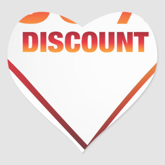 Fifty Percent Discount Arrow Icon Heart Sticker