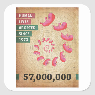 Fifty Seven Million Abortions Square Sticker