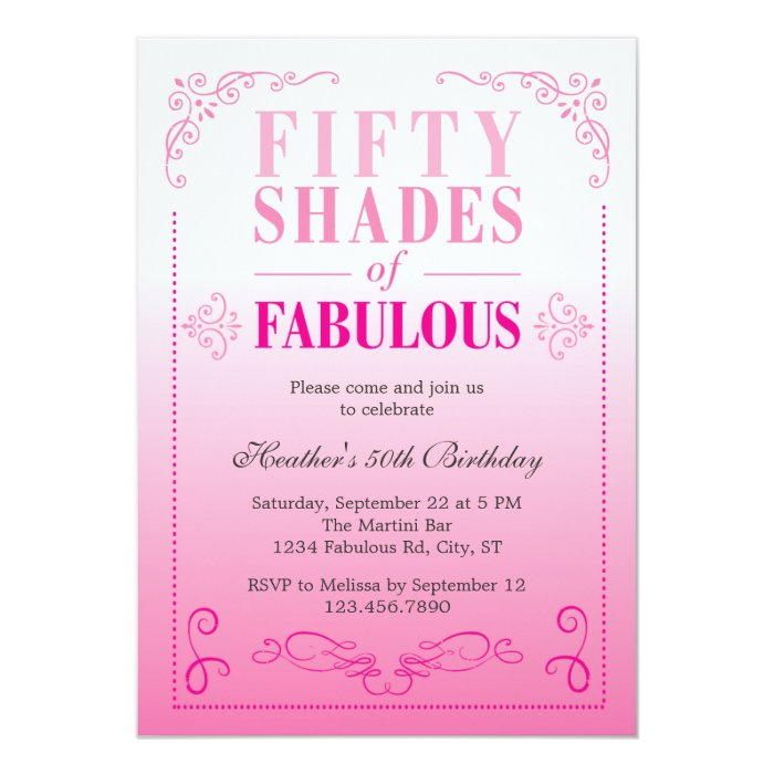 50 And Fabulous Text: Fifty Shades Of Fabulous Birthday Invitation