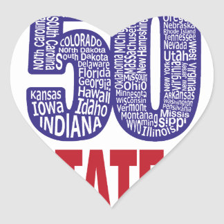 Fifty United States of America Heart Sticker