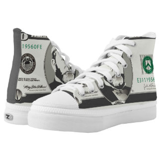 Fifty US $ Dollars Money Currency Bankonote High-Top Sneakers