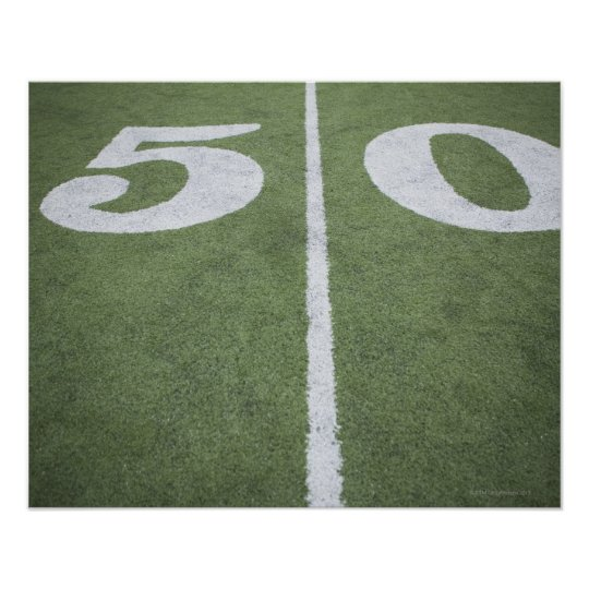 Fifty yard line on sports field poster