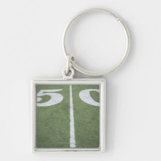 Fifty yard line on sports field Silver-Colored square keychain