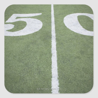 Fifty yard line on sports field square stickers