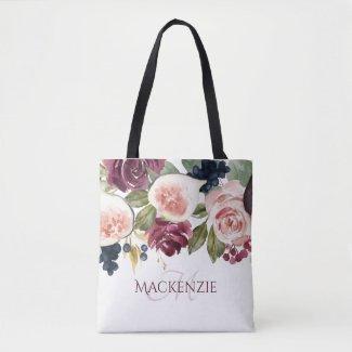 Fig Blossoms | Elegant Floral Bridesmaid Keepsake Tote Bag