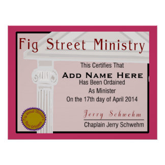 Fig Street Ministry Member Certificate Poster
