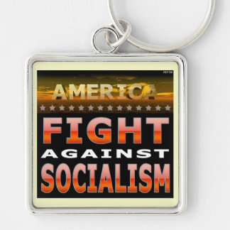 Fight Against Socialism Silver-Colored Square Keychain