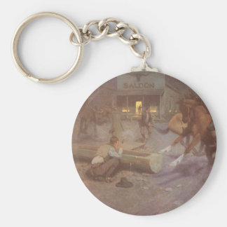 Fight at the Roundup Saloon by EW Gollings Basic Round Button Keychain