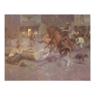 Fight at the Roundup Saloon by EW Gollings 4.25x5.5 Paper Invitation Card