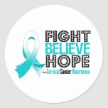Fight Believe Hope - Cervical Cancer Stickers