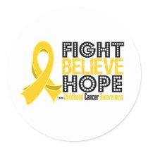 Fight Believe Hope - Childhood Cancer Classic Round Sticker