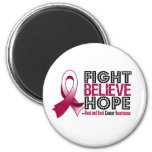 Fight Believe Hope - Head and Neck Cancer 2 Inch Round Magnet