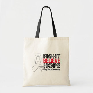 Fight Believe Hope - Lung Cancer Tote Bags
