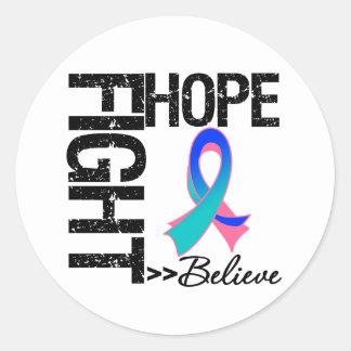 Fight Believe Hope v2 Thyroid Cancer Round Sticker