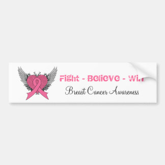 Fight Believe Win - Breast Cancer Bumper Sticker Car Bumper Sticker