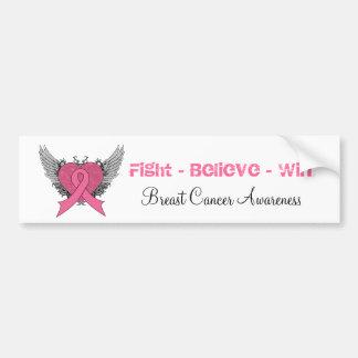 Fight Believe Win - Breast Cancer Bumper Sticker Car Bumper Sticker