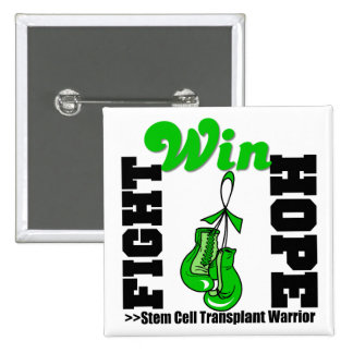 Fight Believe Win Stem Cell Transplant Warrior 2 Inch Square Button