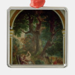 Fight between Jacob and the Angel, 1850-61 Square Metal Christmas Ornament