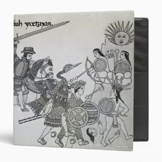 Fight between the Spanish and the Aztecs 3 Ring Binder