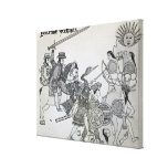 Fight between the Spanish and the Aztecs Stretched Canvas Print